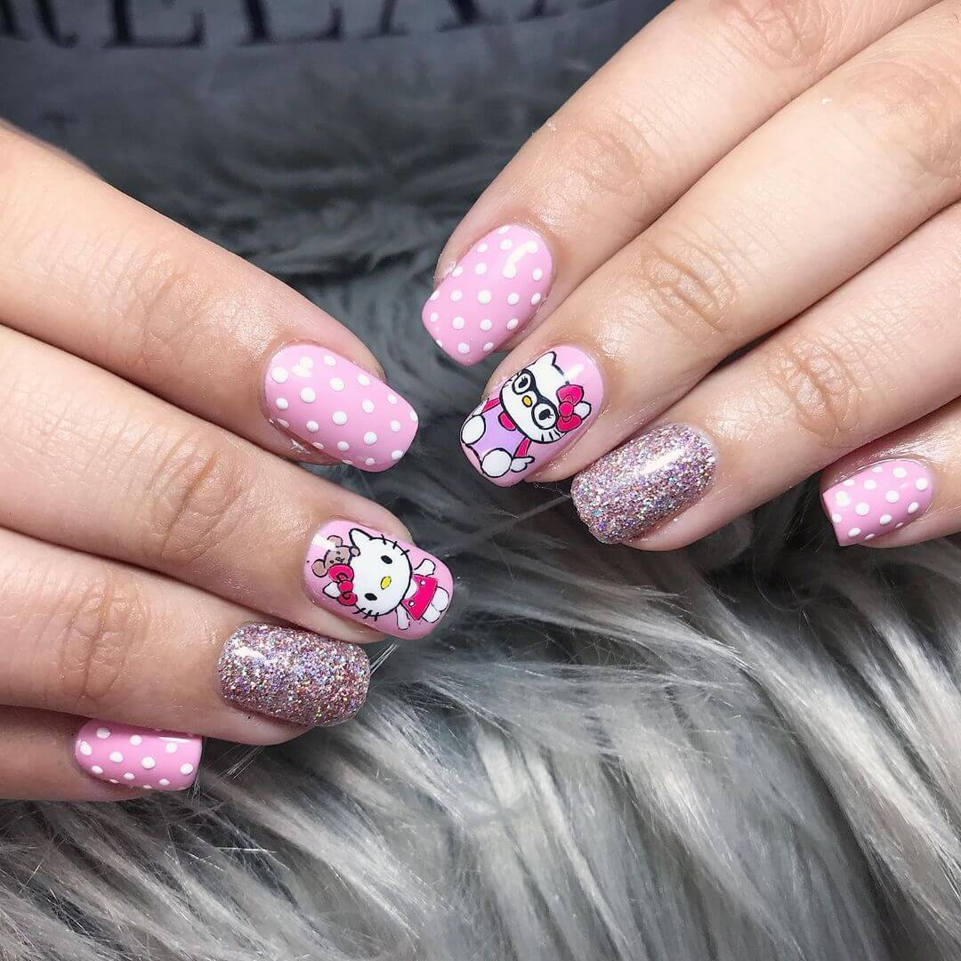 Hello Kitty nail art designs for beginners - Hello Kitty in Pink to nail all down