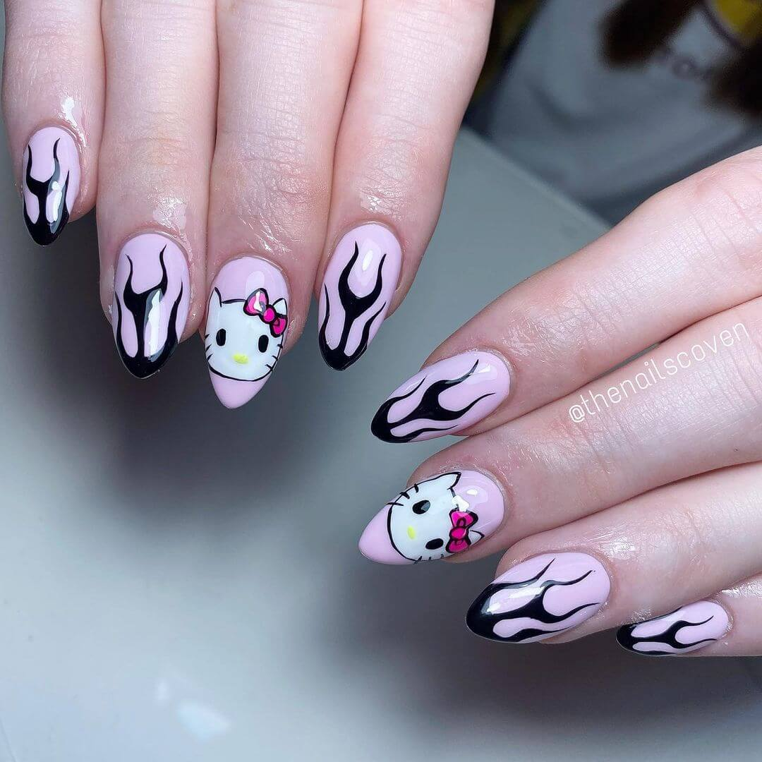 Hello Kitty Nail Art Design Hello Kitty in Acrylic nails