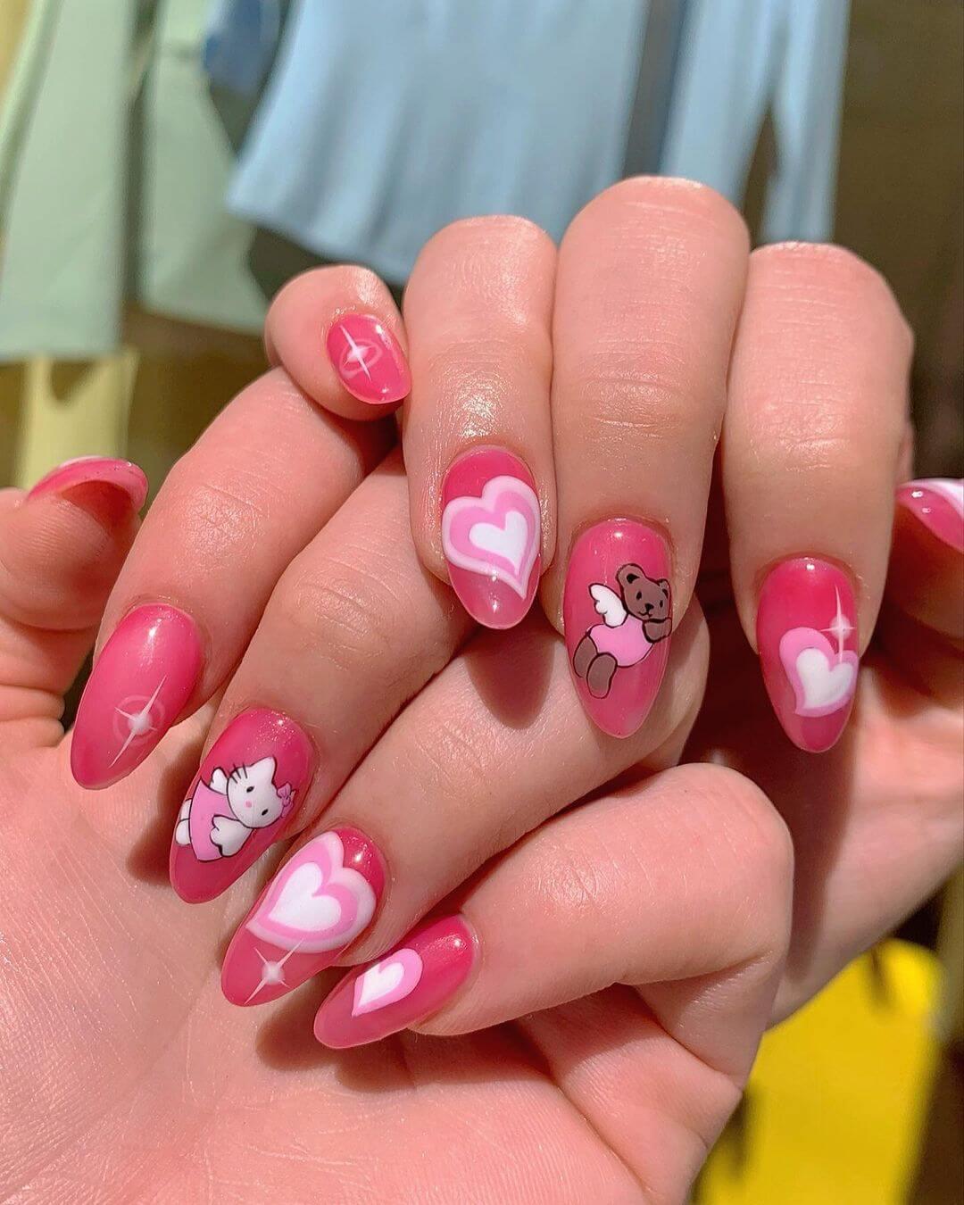 Hello Kitty Nail Art Design Hello Kitty with love in the stars