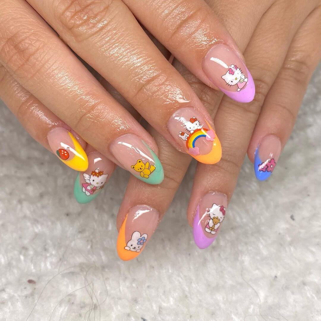 Hello Kitty nail art designs for beginners - Hello Kitty doing various activities