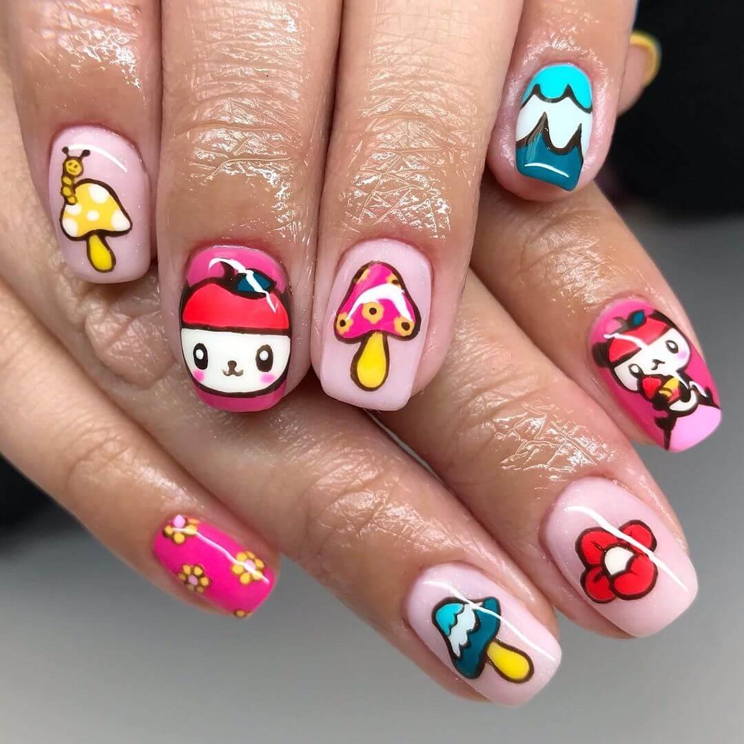 Hello Kitty Nail Art Design Hello Kitty design with items