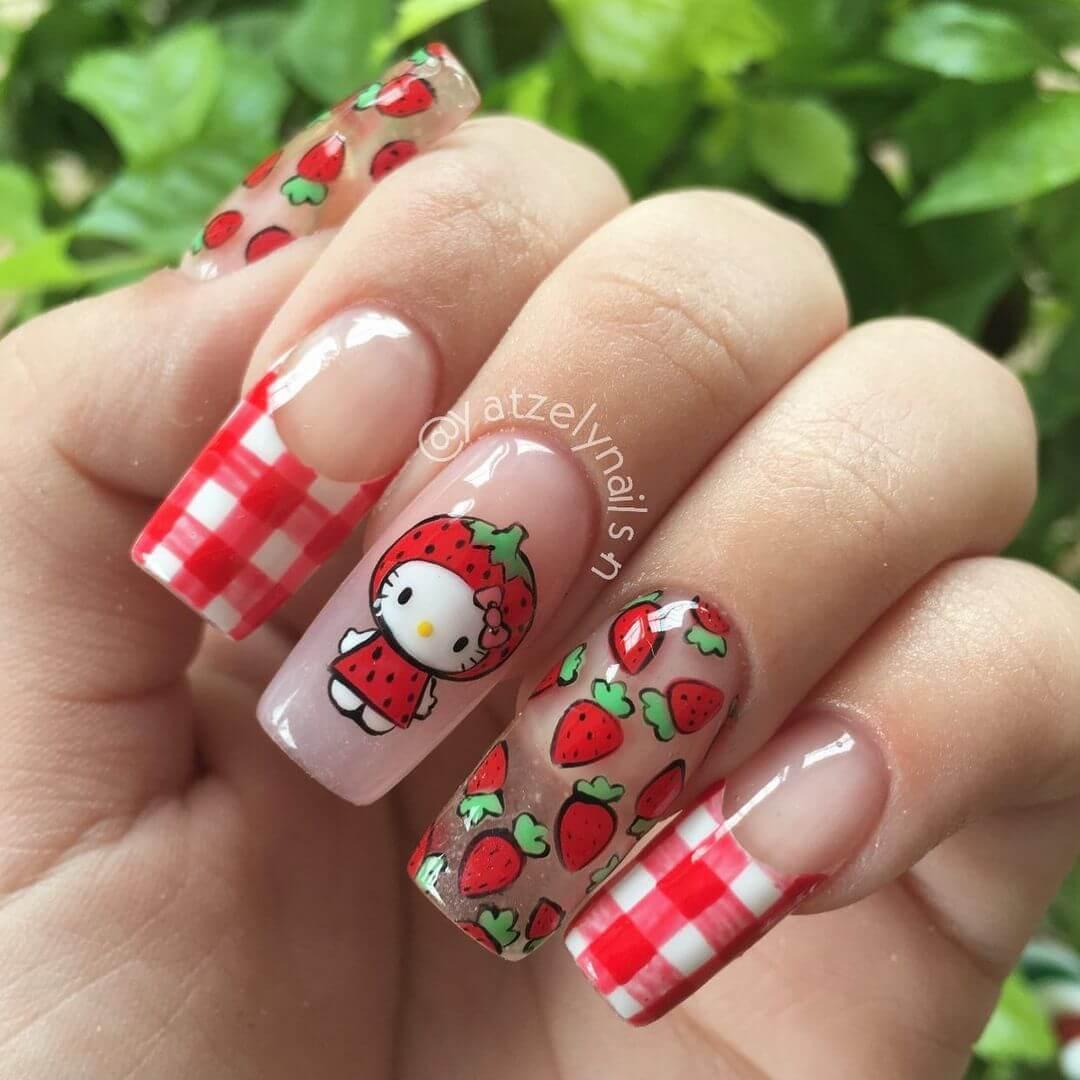 Hello Kitty Nail Art Design Strawberry themed Hello Kitty design